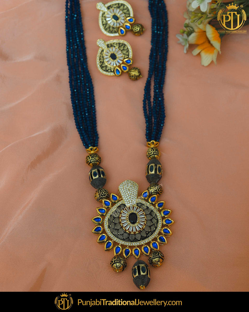 Gold Finished Blue Pearl Kundan Mala Necklace Set | Punjabi Traditional Jewellery Exclusive
