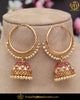 Gold Finished Champagne Stone Pearl Red Jhumki Baali Earrings | Punjabi Traditional Jewellery Exclusive