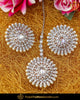 Silver Finished Polki Stud Earring Tikka Set | Punjabi Traditional Jewellery Exclusive
