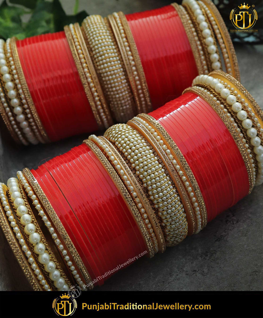 Red Pearl Bridal Chura | Punjabi Traditional Jewellery Exclusive