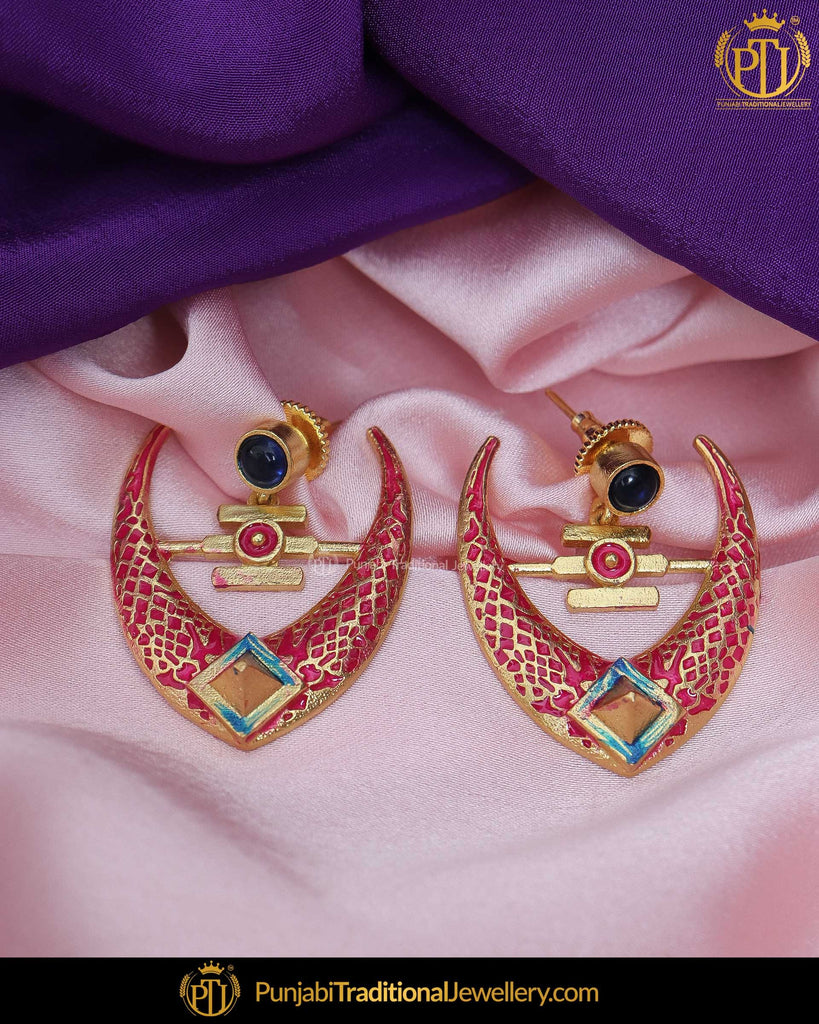 Hand Painted Pink Meena BLue Chand Earrings | Punjabi Traditional Jewellery Exclusive