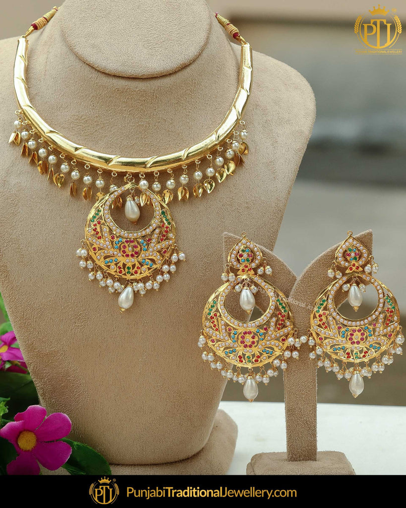 Gold Finished Pippal Patti Rubby Green Jadau Pearl Hasli Necklace Set | Punjabi Traditional Jewellery Exclusive