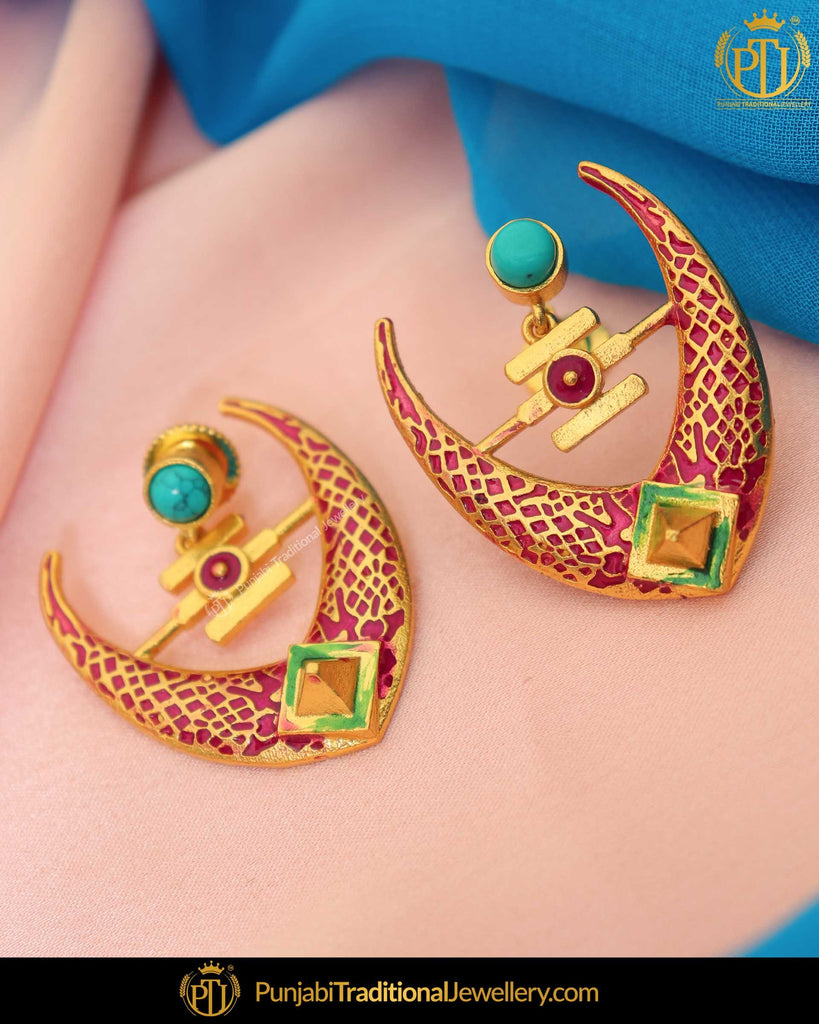 Hand Painted Meena Purple Earrings| Punjabi Traditional Jewellery Exclusive
