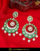 Hand Painted Meena Emerald & Pink Kundan Earrings | Punjabi Traditional Jewellery Exclusive