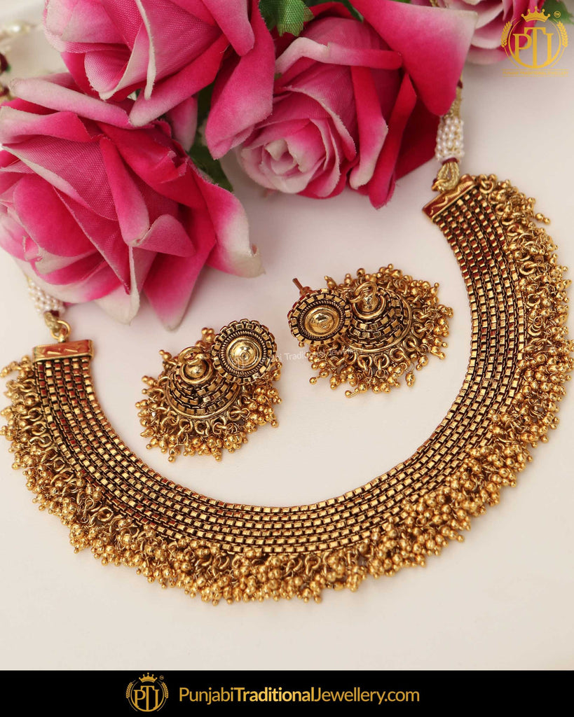 Antique Gold Finished Johda Necklace Set  | Punjabi Traditional Jewellery Exclusive