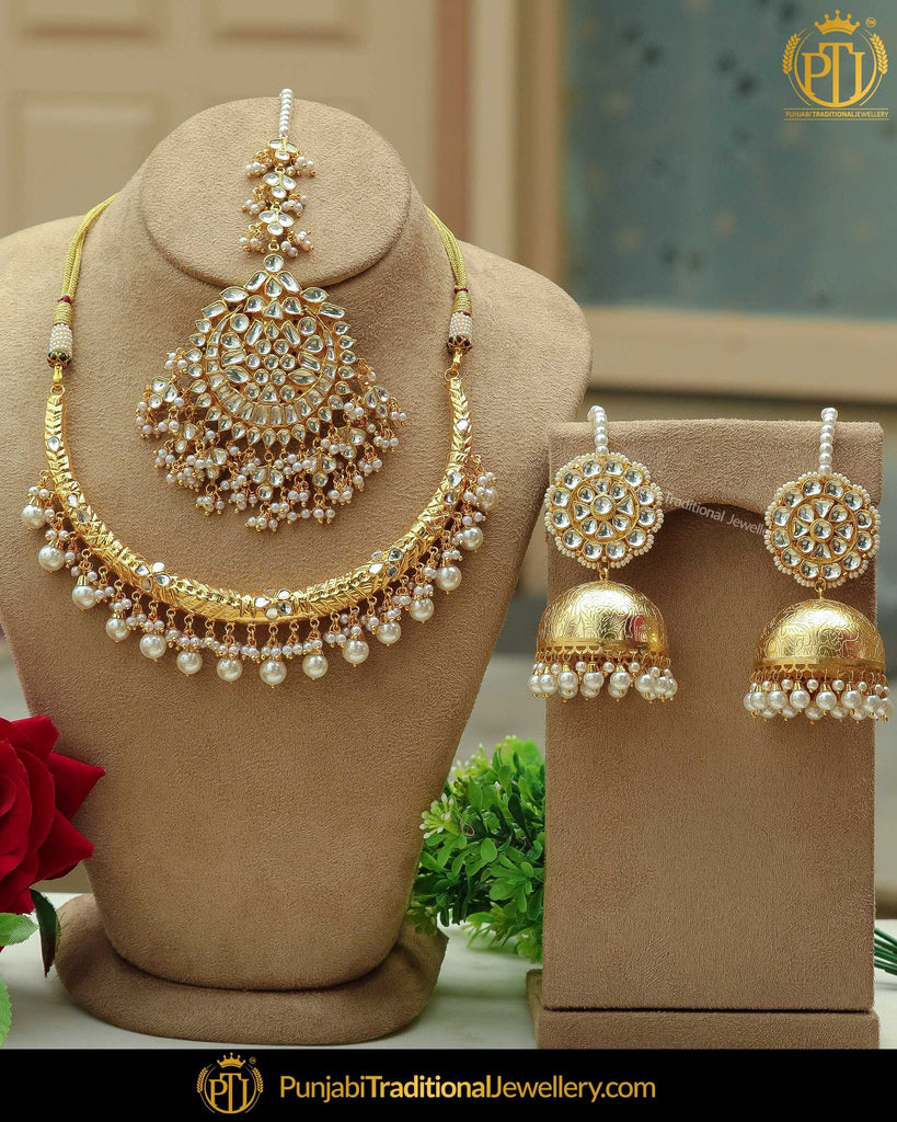 Gold Finished Kundan Pearl Hasli Necklace Set | Punjabi Traditional Jewellery Exclusive