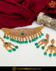Gold Finished Green Champagne Stone Pearl Necklace Set  | Punjabi Traditional Jewellery Exclusive