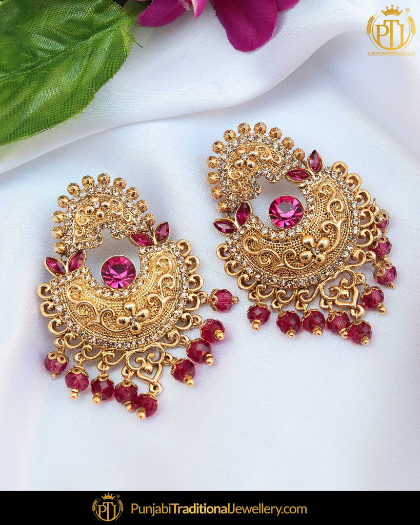 Gold Finished Pink Polki Earrings | Punjabi Traditional Jewellery Exclusive