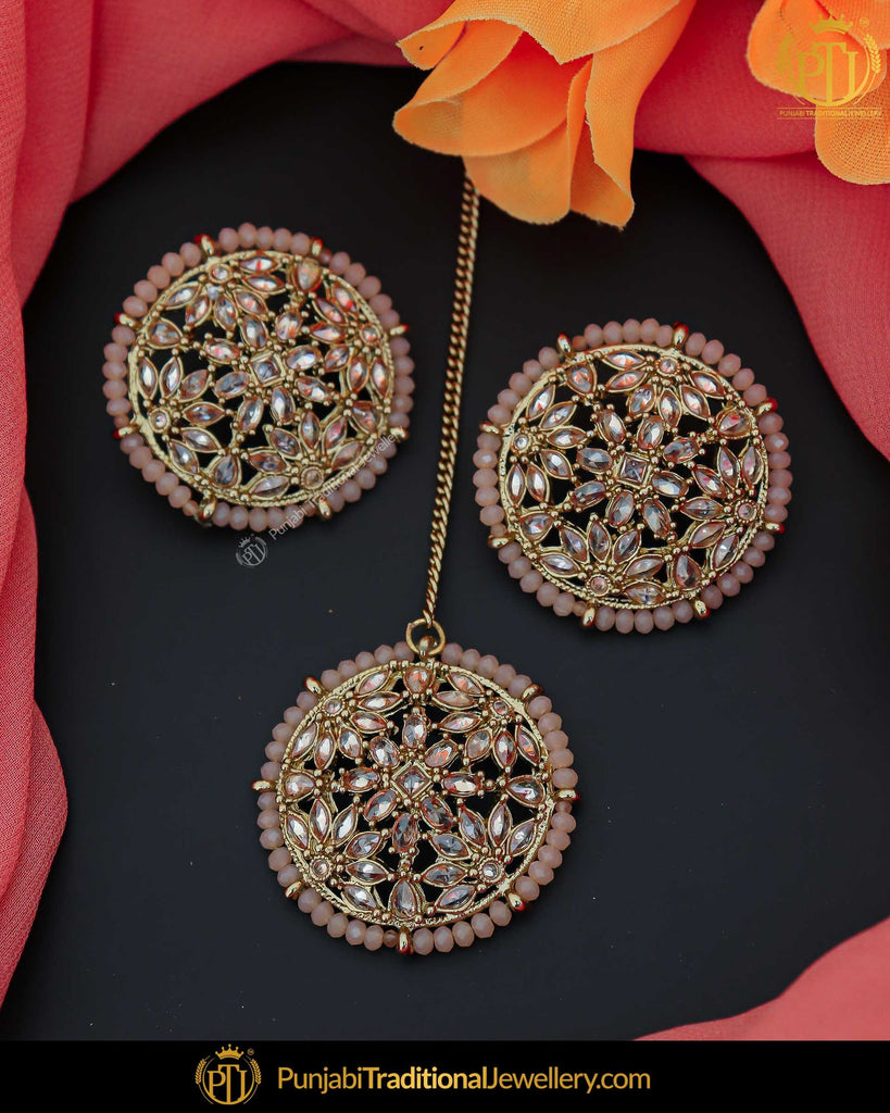 Gold Finished Pink Champagne Stone Stud Earring Tikka Set | Punjabi Traditional Jewellery Exclusive