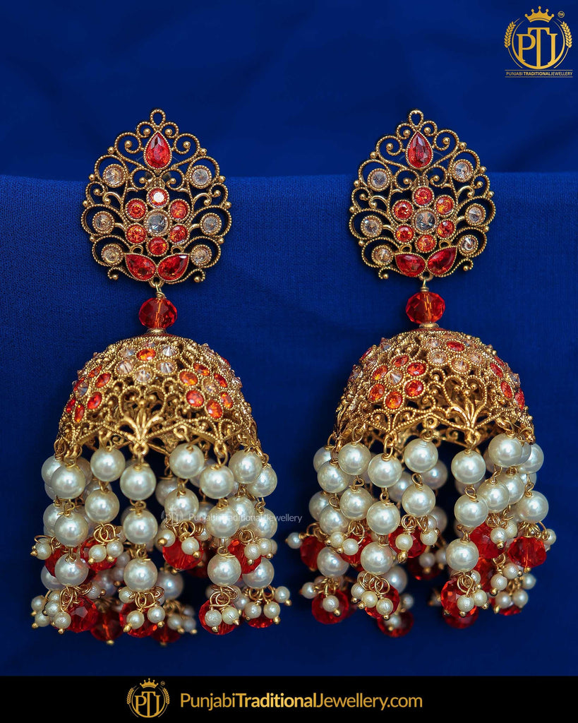 Gold Finished Rubby Champagne Stone Earrings | Punjabi Traditional Jewellery Exclusive