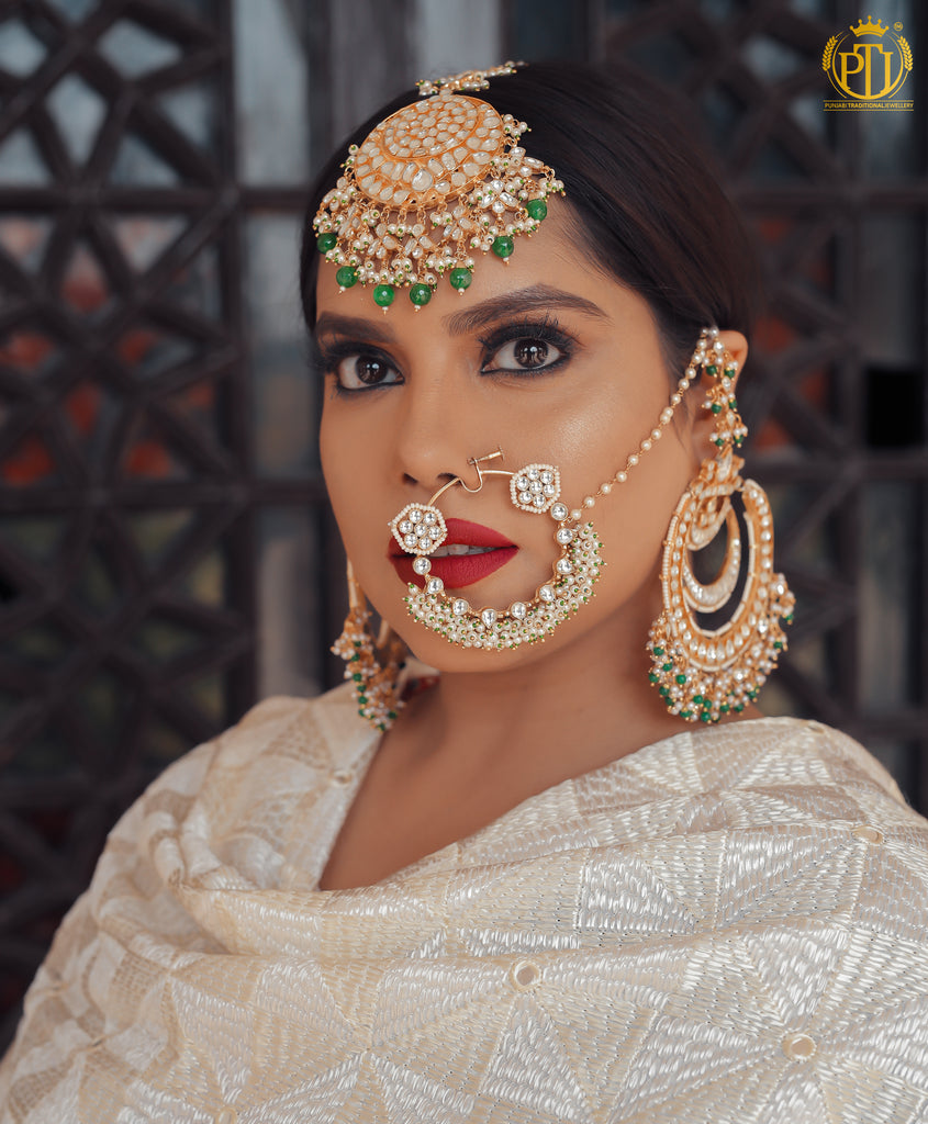 Suhair Emerald Kundan Nath Only  | Rawayat by Punjabi Traditional Jewellery