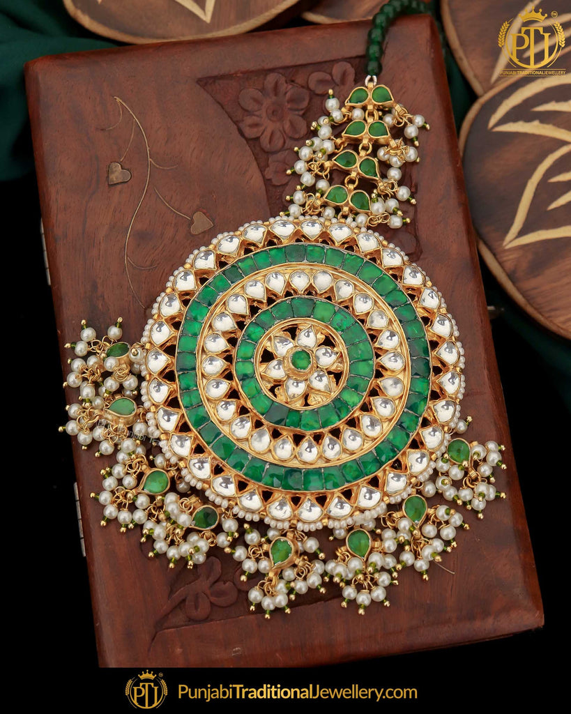 Gold Finished Kundan Green Pearl Tikka | Punjabi Traditional Jewellery Exclusive