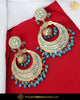 Gold Finished Firozi Jadau Pearl Earrings  | Punjabi Traditional Jewellery Exclusive