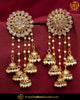 Gold Finished Chamapgne Stone Earrings | Punjabi Traditional Jewellery Exclusive