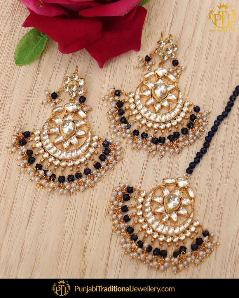 Gold Finished Blue Kundan Earrring Tikka Set | Punjabi Traditional Jewellery Exclusive