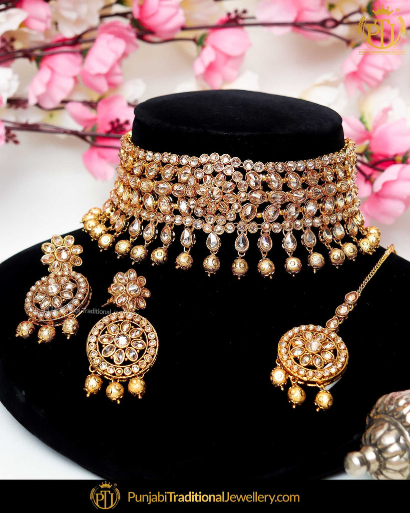 Gold Finished Champagne Stone Pearl Necklace Set  | Punjabi Traditional Jewellery Exclusive