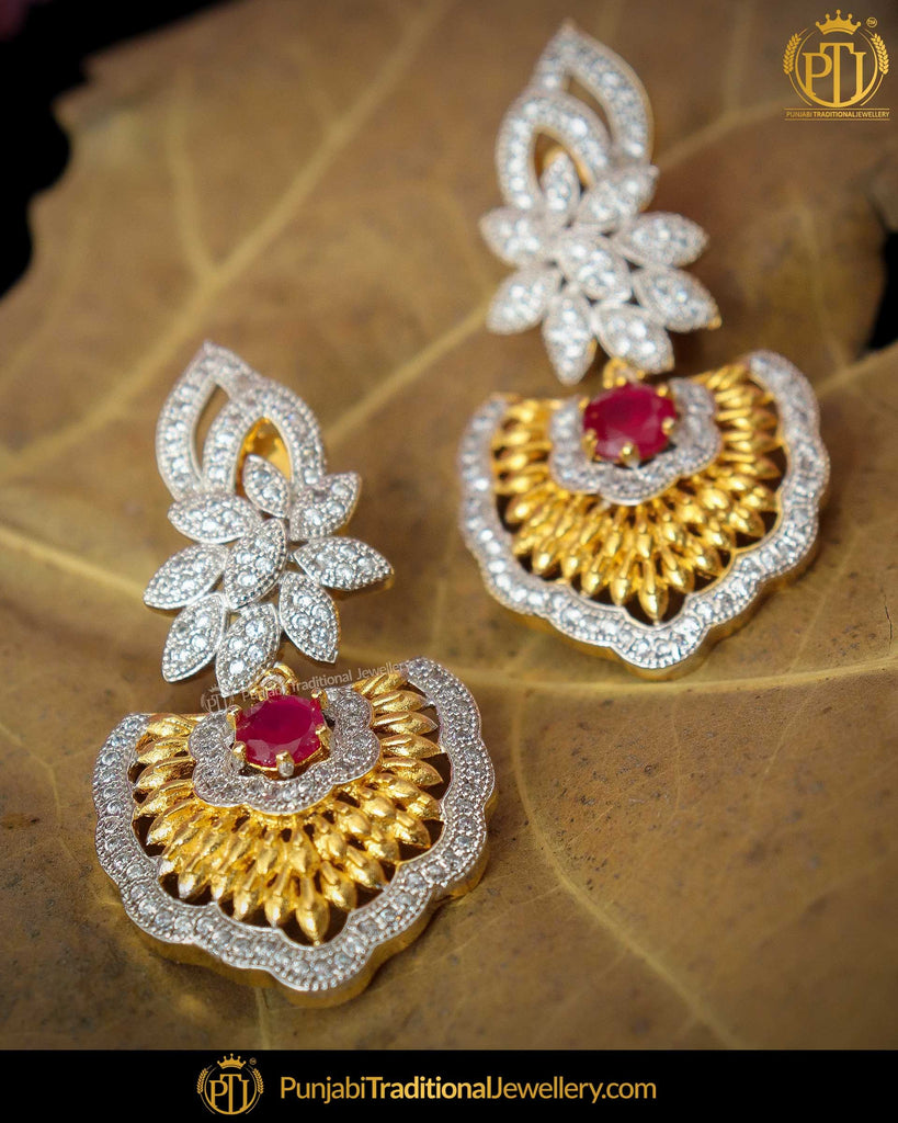 Gold Finished Rubby Matt Gold Amrican Diamond Earrings | Punjabi Traditional Jewellery Exclusive