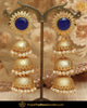 Gold Finished Blue Stone Triple Jhumki Pearl Earrings | Punjabi Traditional Jewellery Exclusive