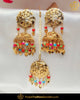 Gold Finished Jadau Navratan Pippal Patti Pearl Earring Tikka Set | Punjabi Traditional Jewellery Exclusive