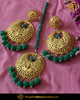 Aaqilah Green Earring Tikka Set | Punjabi Traditional Jewellery Exclusive