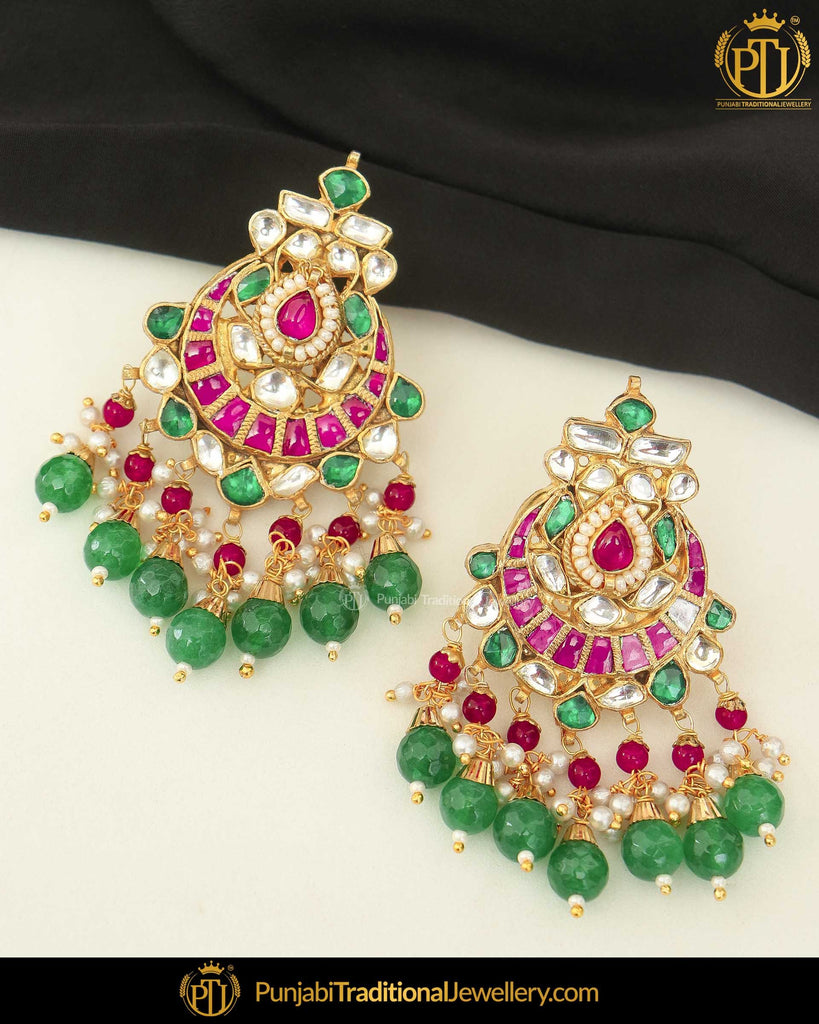 Gold Finished Pearl Emerald Rubby Kundan Pippal Patti Earrings | Punjabi Traditional Jewellery Exclusive