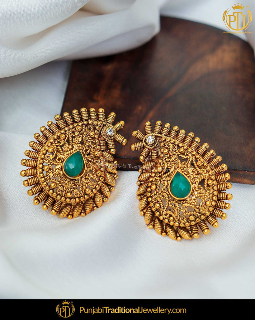 Antique Gold Finished Green Stud Earrings | Punjabi Traditional Jewellery Exclusive