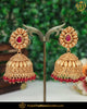 Gold Finished Champagne Stone Red Jhumki Pearl Earrings | Punjabi Traditional Jewellery Exclusive