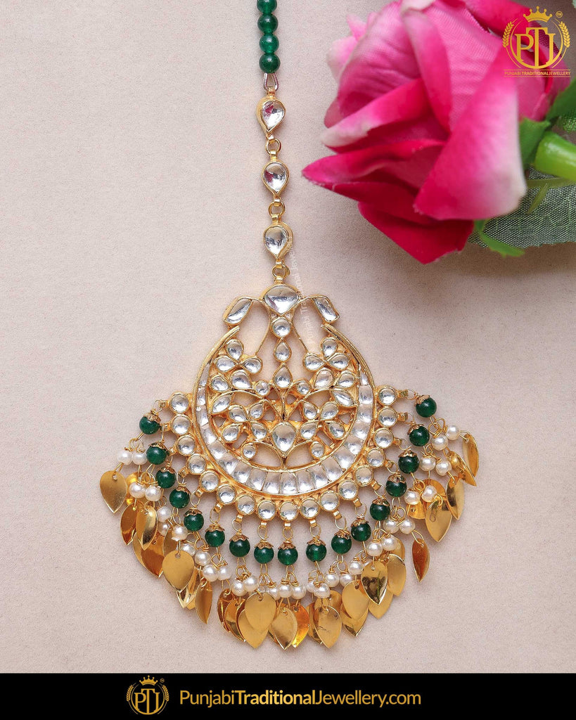 Gold Finished Pippal Patti Emerald Kundan Pearl Tikka | Punjabi Traditional Jewellery Exclusive