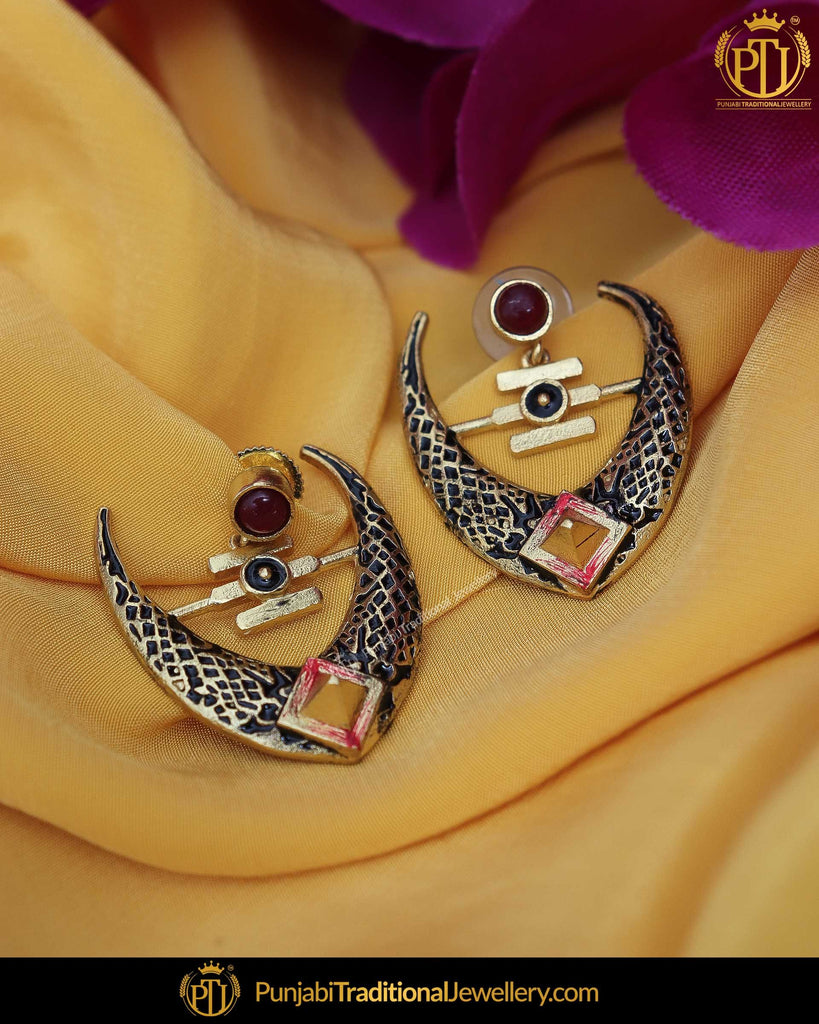 Hand Painted Black Meena Rubby Chand Earrings | Punjabi Traditional Jewellery Exclusive