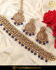 Gold Finished Blue Chamapgne Stone Pearl Choker Necklace Set | Punjabi Traditional Jewellery Exclusive