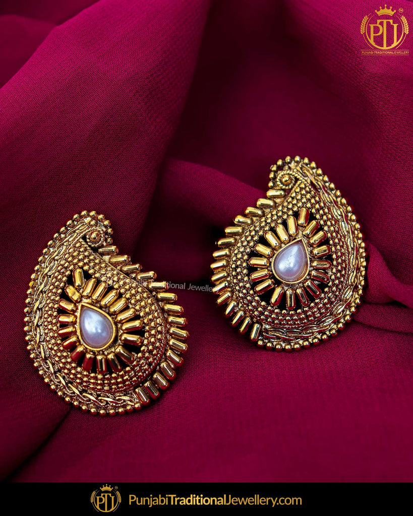 Antique Gold Finished Earrings | Punjabi Traditional Jewellery Exclusive