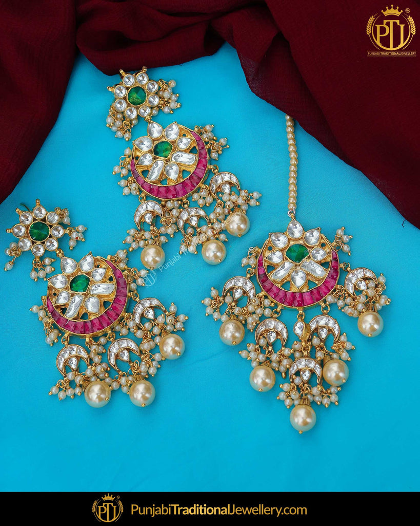 Gold Finished Rubby & Green Kundan Earrring Tikka Set | Punjabi Traditional Jewellery Exclusive