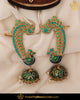 Hand Painted Meena Emerald Firoza Stone Pearl Jhumki Morni Earrings | Punjabi Traditional Jewellery Exclusive