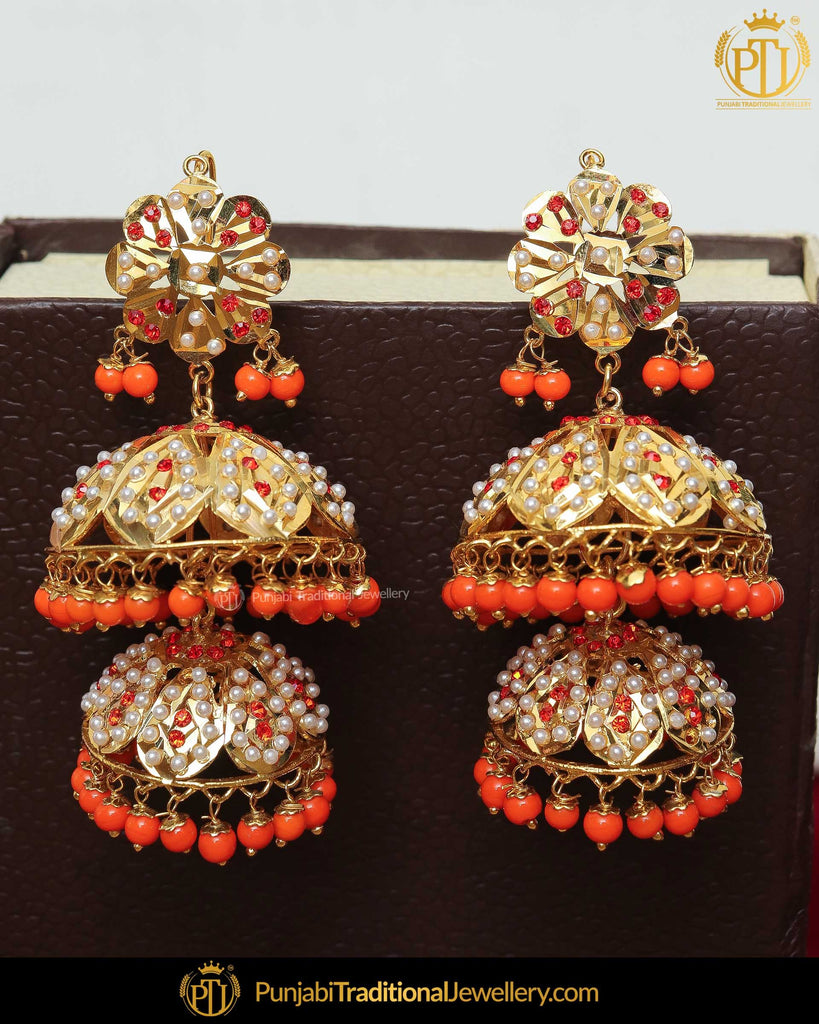 Gold Finished Orange Jadau Jhumki Pearl Earrings | Punjabi Traditional Jewellery Exclusive