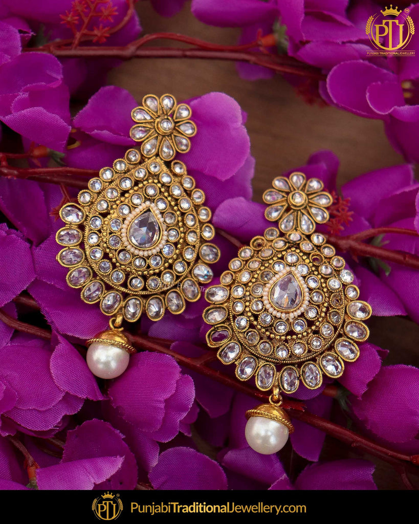 Antique Gold Finished Chamapgne Stone Pearl Earrings | Punjabi Traditional Jewellery Exclusive