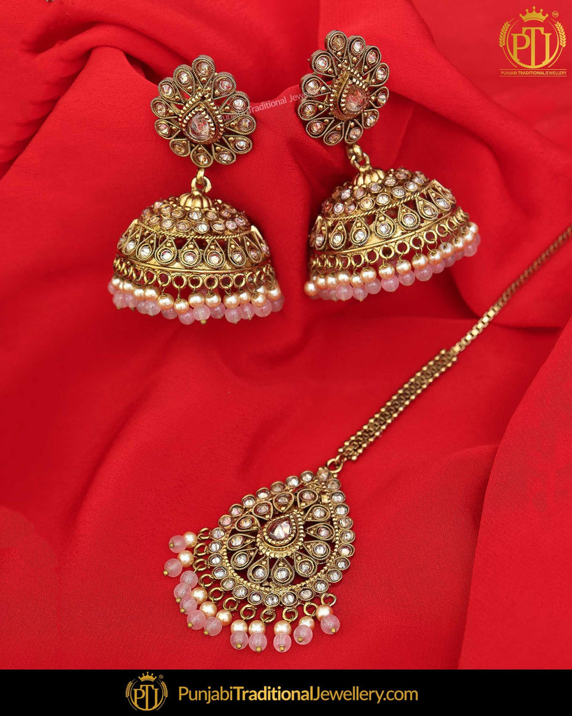 35512922c Antique Gold Finished Babby Pink Champagne Stone Earring Tikka Set | Punjabi  Traditional Jewellery Exclusive