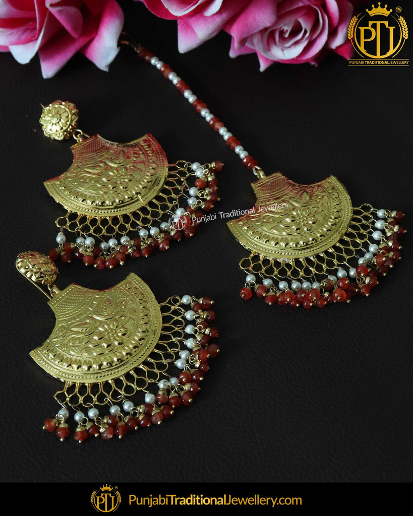 Red Patra Earring Tikka Set | Punjabi Traditional Jewellery Exclusive