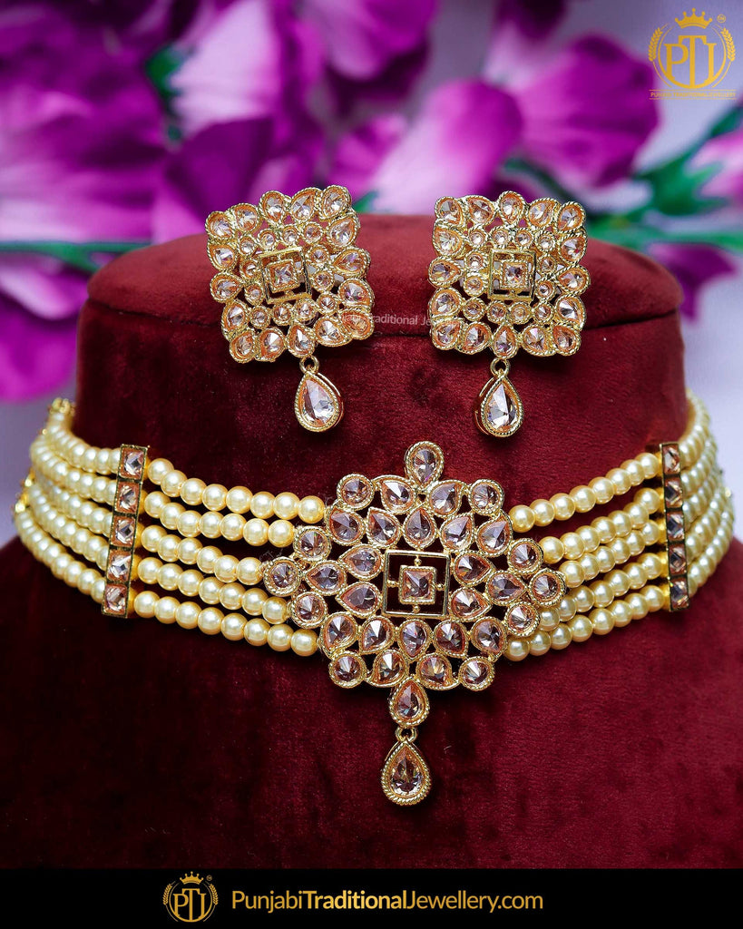 Gold Finished Champagne Stone Pearl Mala Necklace Set  | Punjabi Traditional Jewellery Exclusive