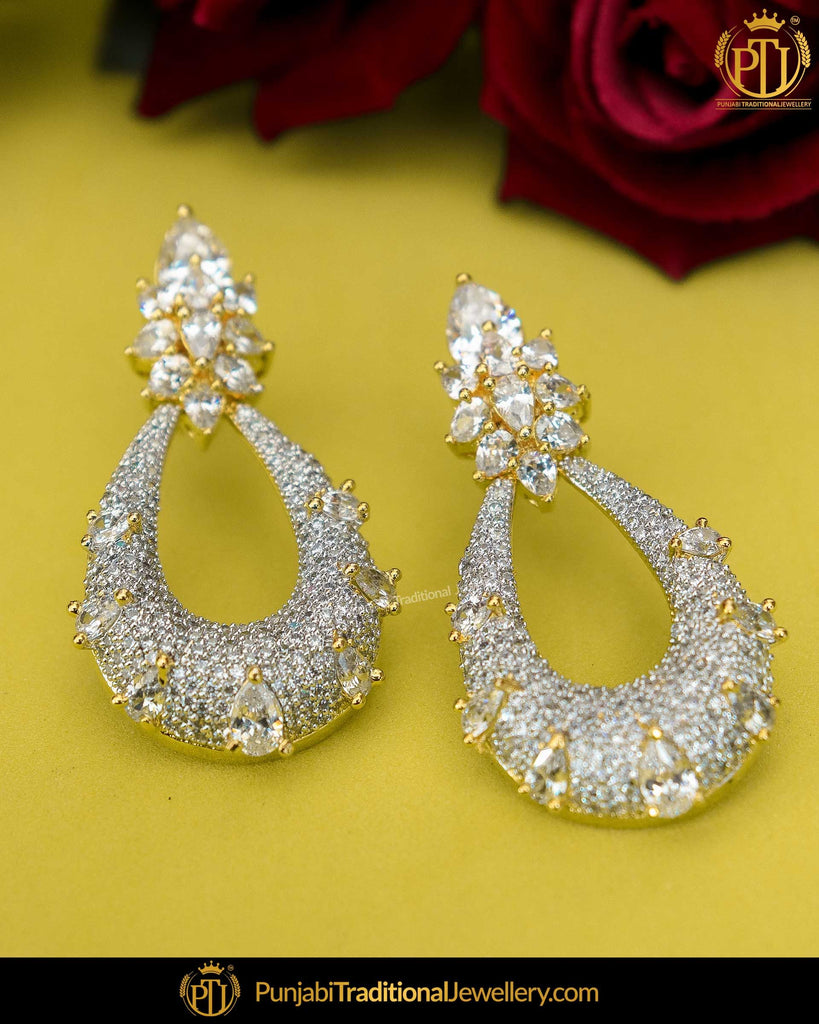Gold Finished Amrican Diamond Earrings | Punjabi Traditional Jewellery Exclusive