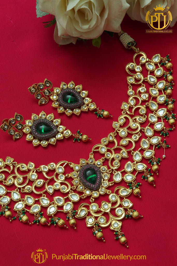 Matt Gold Green Kundan Necklace Set By Punjabi Taditional Jewellery