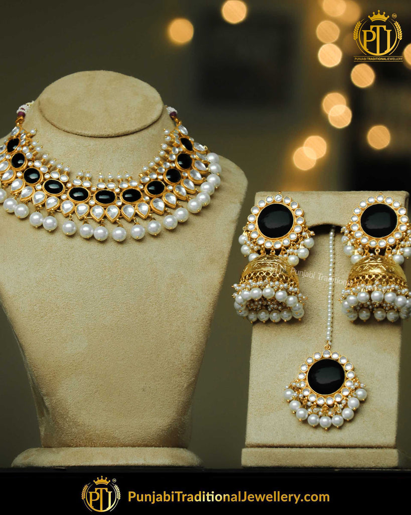Black Kundan Pearl Necklace Set | Punjabi Traditional Jewellery Exclusive