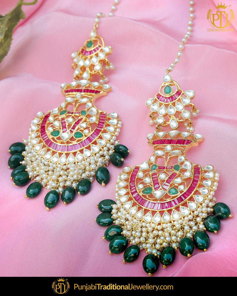 Gold Finished Rubby Emerald Kundan Pearl Sahare Earrings | Punjabi Traditional Jewellery Exclusive