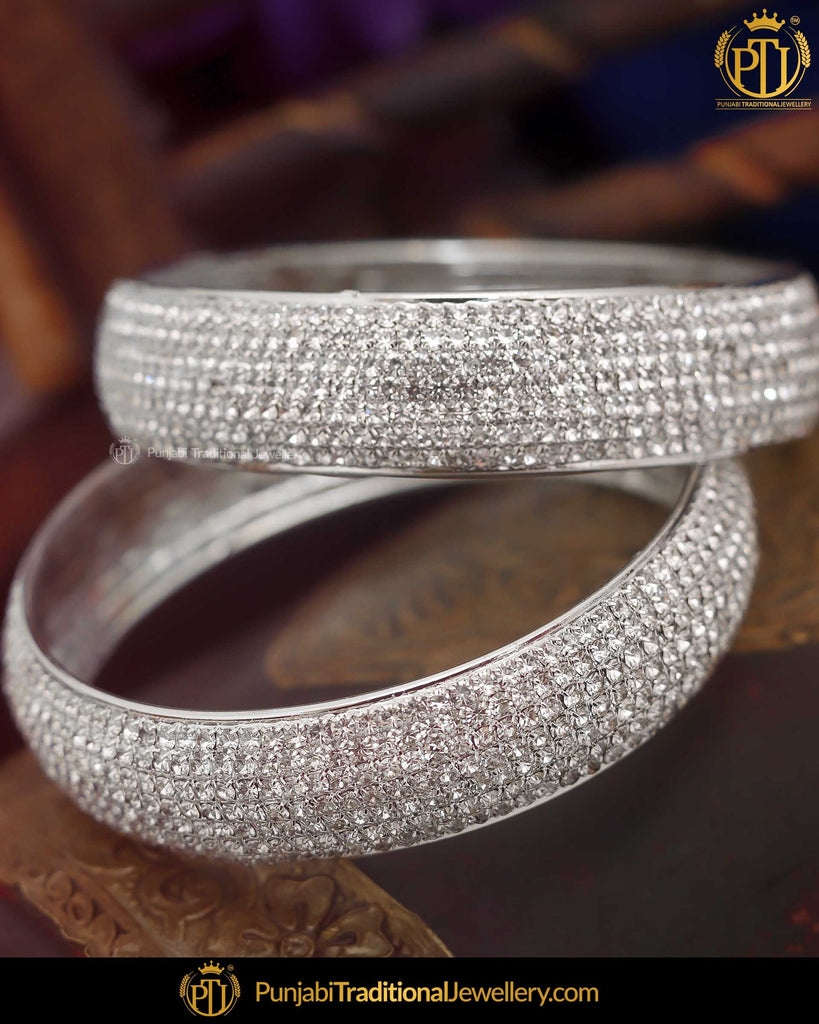 Silver Jercon Karra Bangles  (Both Hand Pair) | Punjabi Traditional Jewellery Exclusive