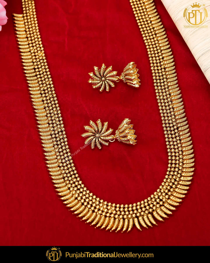 Antique Gold Finished Emerald Rubby Johda long Set | Punjabi Traditional Jewellery Exclusive