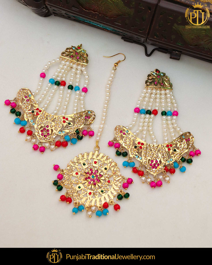 Gold Finished Navratan Jadau Pearl Earring Tikka Set | Punjabi Traditional Jewellery Exclusive