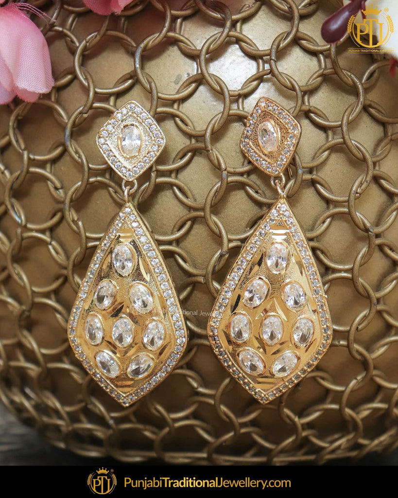 Gold Finished Jercon Pearl Earrings | Punjabi Traditional Jewellery Exclusive