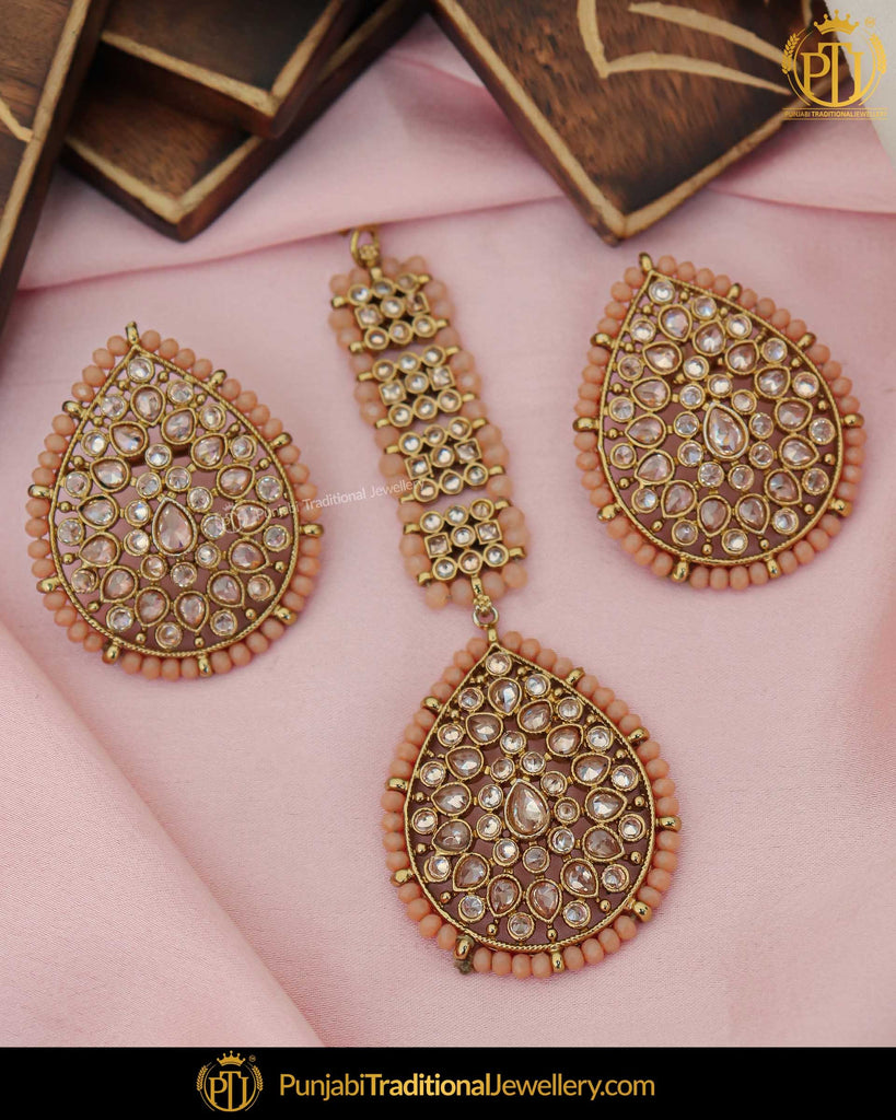 Gold Finished Peach Champagne Stone Stud Earring Tikka Set | Punjabi Traditional Jewellery Exclusive