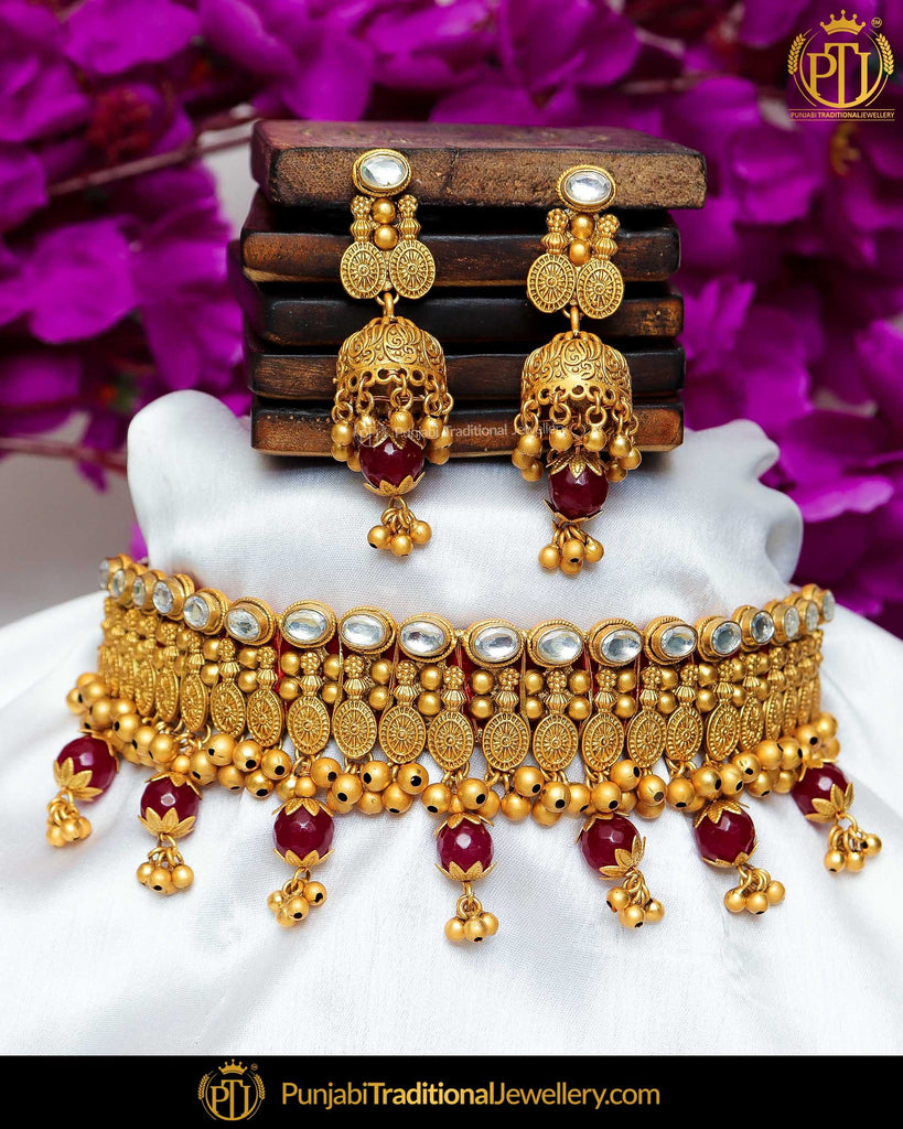 Antique Gold Finished Rubby Kundan Pearl Bridal Choker Necklace Set  | Punjabi Traditional Jewellery Exclusive