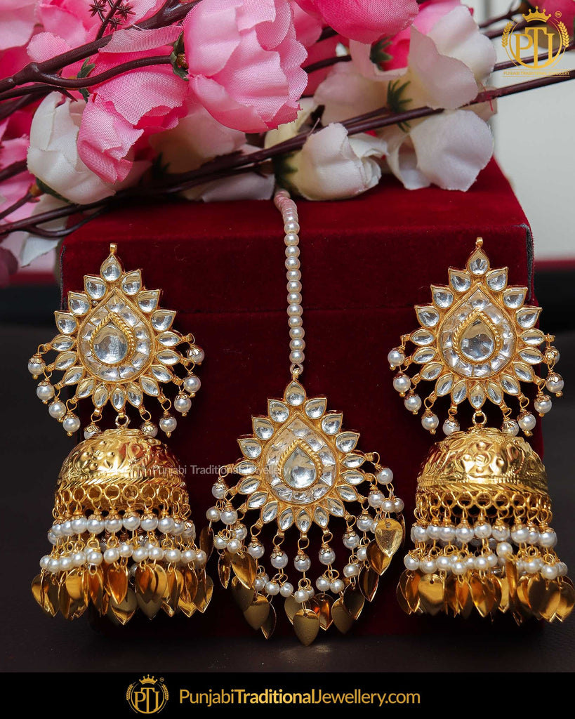 Gold Finished Pearl Pippal Patti Kundan Jhumki Earrrings & Tikka | Punjabi Traditional Jewellery Exclusive