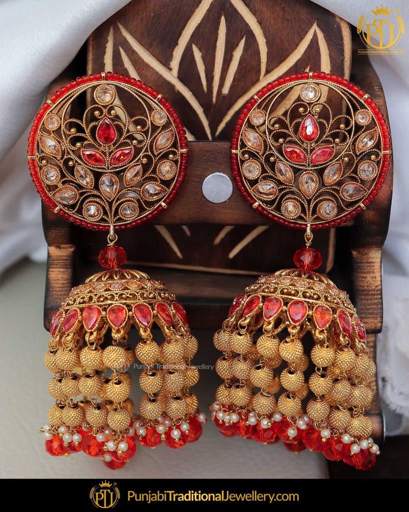 Gold Finished Chamapgne Stone Rubby Pearl Earrings | Punjabi Traditional Jewellery Exclusive